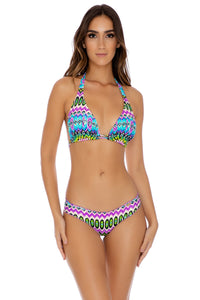 PLAYA ESMERALDA - D-cup Triangle Halter & Full Ruched Bach Bottom • Aqua