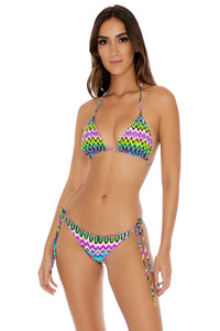 PLAYA ESMERALDA - Triangle Top & Wavey Brazilian Tie Side Ruched • Aqua