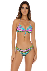 PLAYA ESMERALDA - Molded Push Up Bandeau Halter & Scrunch Side Full Bottom • Aqua