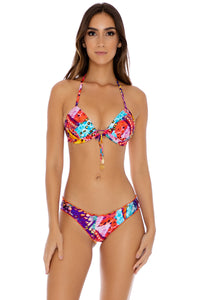CUBANA PELIGROSA - Adjustable Front Molded Triangle Halter & Full Coverage Ruched • Multicolor