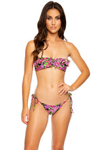 SEXY SEÑORITA - Ruffle Bandeau & Tie Side Moderate Bottom • Pink Black