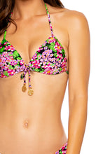 SEXY SEÑORITA - Molded Push Up Bandeau Halter Top & Wavy Ruched Back  Bottom • Pink Black