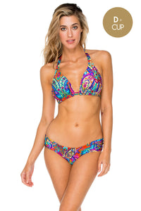PACHANGA - D Cup Triangle Top & Scrunch Side Full Bottom • Multicolor