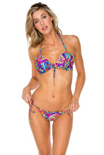 PACHANGA - Adj Front Molded Tri Halter & Wavey Tie Side Ruched • Multicolor