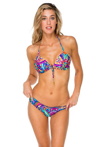 PACHANGA - Adj Front Molded Tri Halter & Full Coverage Ruched Back • Multicolor