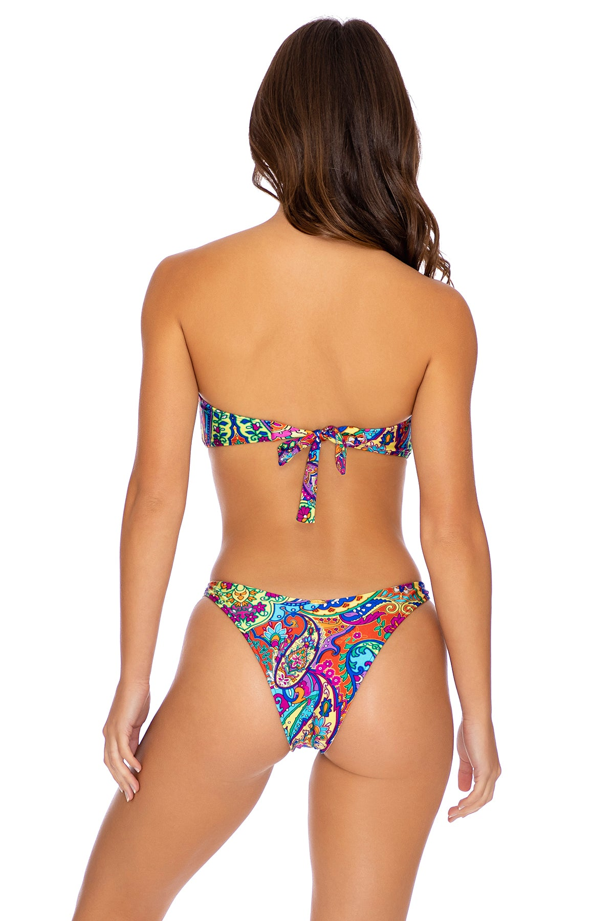 RETRO CRUSH - Gold V Ring Bandeau Top & High Leg Brazilian Bottom • Multicolor Campaign