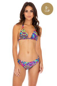 RETRO CRUSH - Triangle Halter Top & Seamless Full Ruched Back Bottom • Multicolor