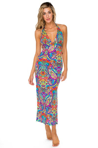 PACHANGA - Maxi Halter Dress • Multicolor