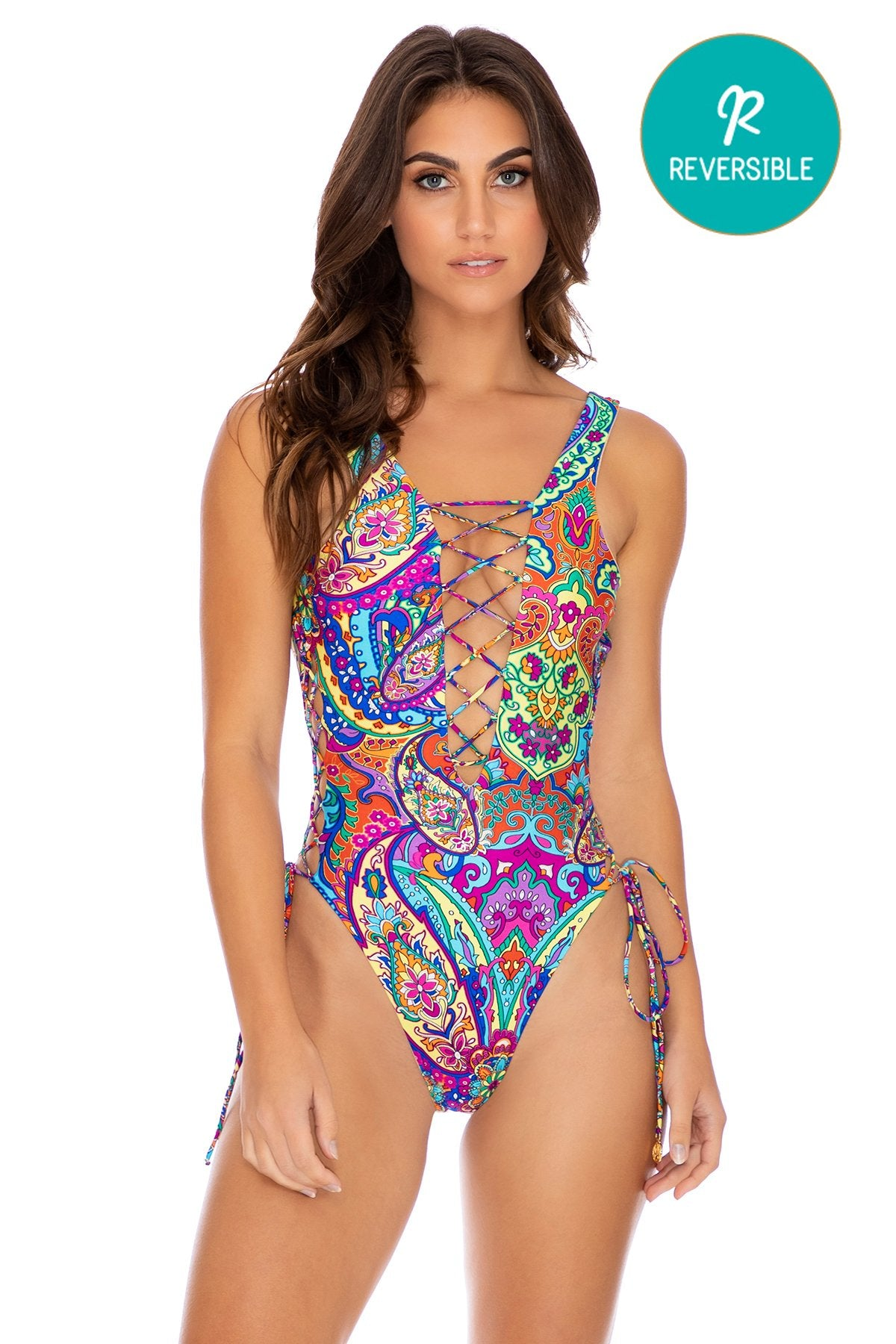 RETRO CRUSH - Open Side One Piece Bodysuit • Multicolor
