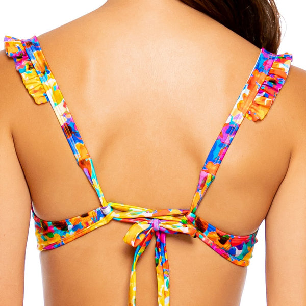 DULCE TORMENTO - Ruffle Cross Back Halter Top
