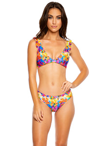 DULCE TORMENTO - Ruffle Cross Back Halter Top & Seamless Full Ruched Back Bottom • Multicolor