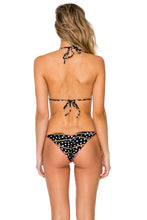 CLUB TROPICANA - Wavey Triangle & Wavey Tie Side Ruched Brazilian • Black