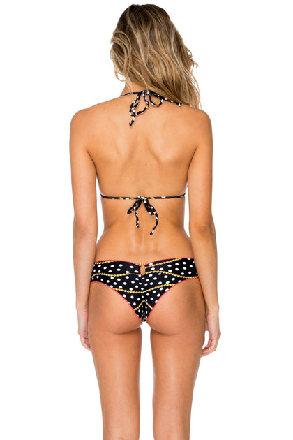 CLUB TROPICANA - Wavey Triangle & Butterfly Ruched Back • Black