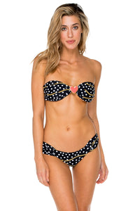 CLUB TROPICANA - Heart Twist Bandeau Top & Scrunch Side Moderate • Black