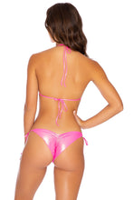 HEAVY METAL - Wavey Triangle Top & Wavey Ruched Back Tie Side Bottom • Neon Pink