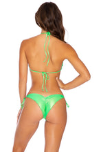 HEAVY METAL - Wavey Triangle Top & Wavey Ruched Back Tie Side Bottom • Neon Lime