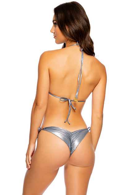 HEAVY METAL - Wavy Triangle Top & Wavy Ruched Back Tie Side Bottom • Vip Platinum