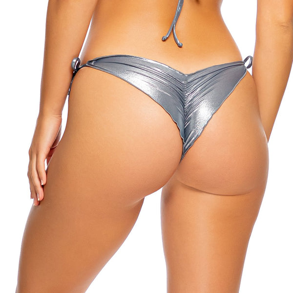 HEAVY METAL - Wavy Ruched Back Tie Side Bottom