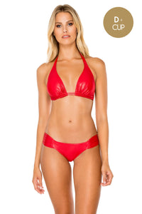 AY DIOS MIO - Triangle Halter Top & Scrunch Side Moderate • Ruby Red