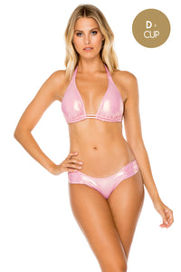 AY DIOS MIO - Triangle Halter Top & Scrunch Side Moderate • Rose Champagne