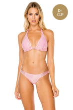 AY DIOS MIO - Triangle Halter Top & Multi Strap Ruched Bottom • Rose Champagne
