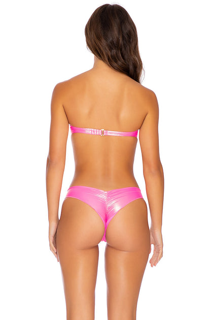 HEAVY METAL - Underwire Push Up Bandeau Top & Seamless Wavey Ruched Back Bottom • Neon Pink