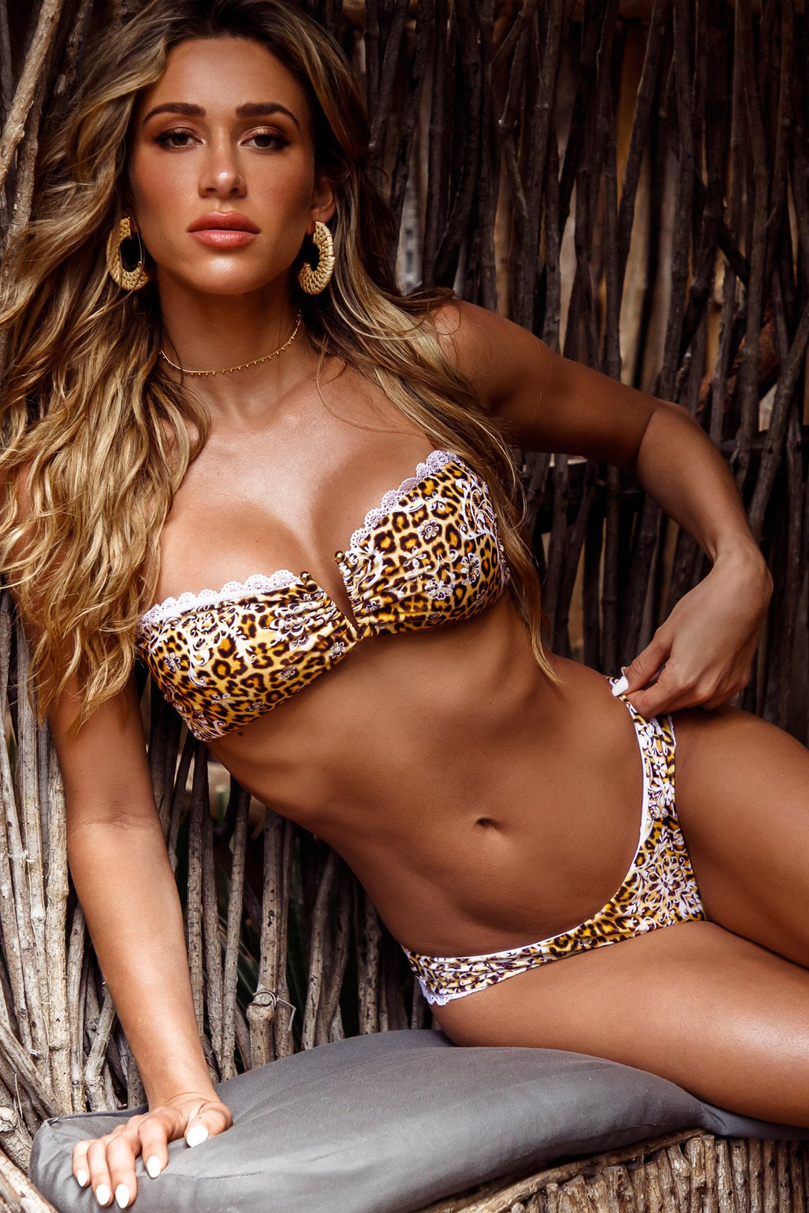 SWEET ESCAPE - Gold V Ring Bandeau Top & Low Rise Seamless Skimpy Bottom • Multicolor Campaign