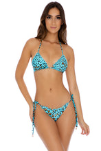 DALE GUAPA - Wavey Triangle Top & Wavey Tie Side Ruched Brazilian • Aqua