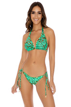 DALE GUAPA - D Cup Triangle Halter & Wavey Tie Side Ruched Brazilian • Mint