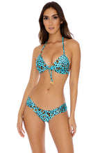 DALE GUAPA - Adjustable Front Molded Triangle Halter & Scrunch Side Full Bottom • Aqua