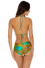 SERENATA - Molded Push Up Bandeau Halter & High Waist Full Ruched Back Bottom • Multicolor