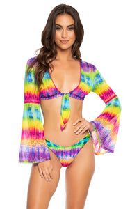 AFTERGLOW - Stitched Bell Sleeve Crop Top & High Leg Bottom • Multicolor