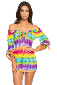 AFTERGLOW - Ruffle V Neck Dress • Multicolor
