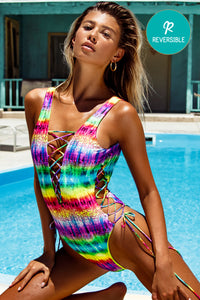 AFTERGLOW - Open Side One Piece Bodysuit • Multicolor