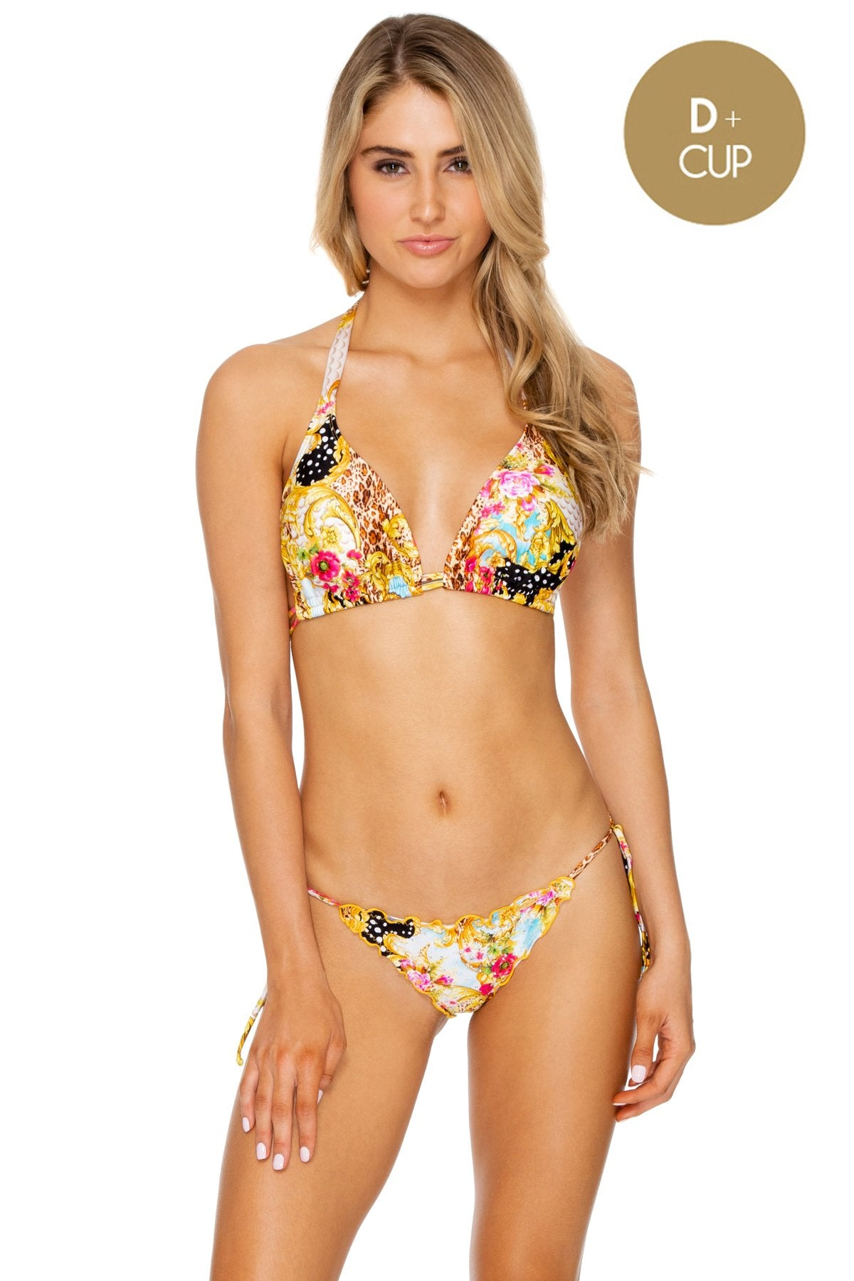 SUPER SEXY 60'S! - Triangle Halter Top & Wavey Ruched Back Full Tie Side Bottom • Multicolor
