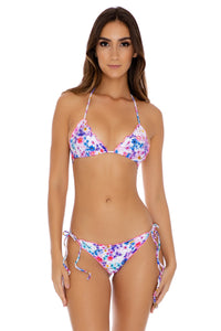 FANTASIA - Crystallized Wavey Triangle Top & Crystallized Tie Side Thong Botom • Multicolor