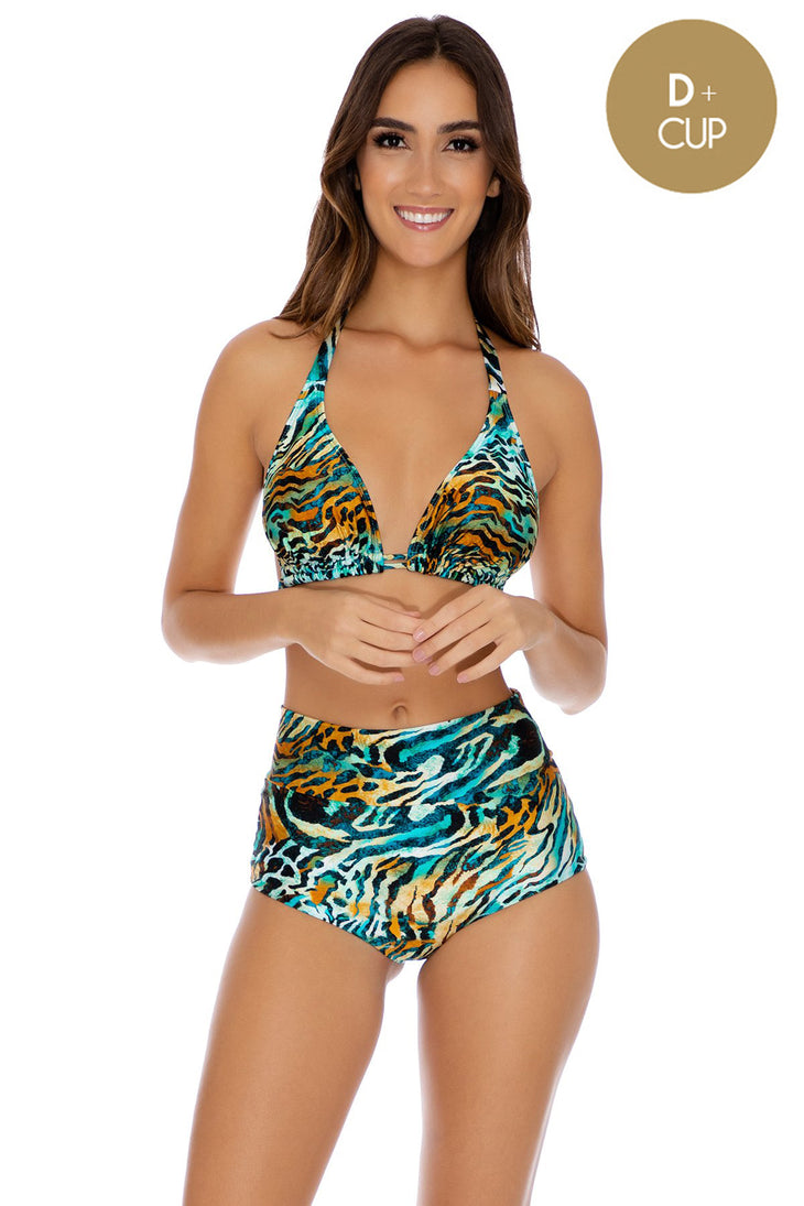 PROVOCAS FUEGO - D Cup Triangle Halter & High Waist Band Bottom • Multicolor