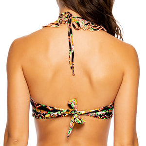 VIVA LA NOCHE - Crystallized Ruffled Heart Bandeau Top