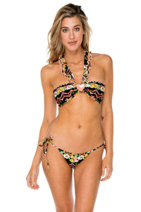 VIVA LA NOCHE - Ruffled Heart Bandeau Top & Brazilian Tie Side Bottom • Multicolor
