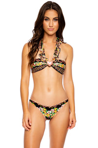 VIVA LA NOCHE - Crystallized Ruffled Heart Bandeau Top & Drawstring Back Scrunch Bottom • Multicolor