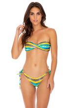 OLAS INFINITAS - Twist Bandeau Top & Wavey Brazilian Tie Side Bottom • Multicolor