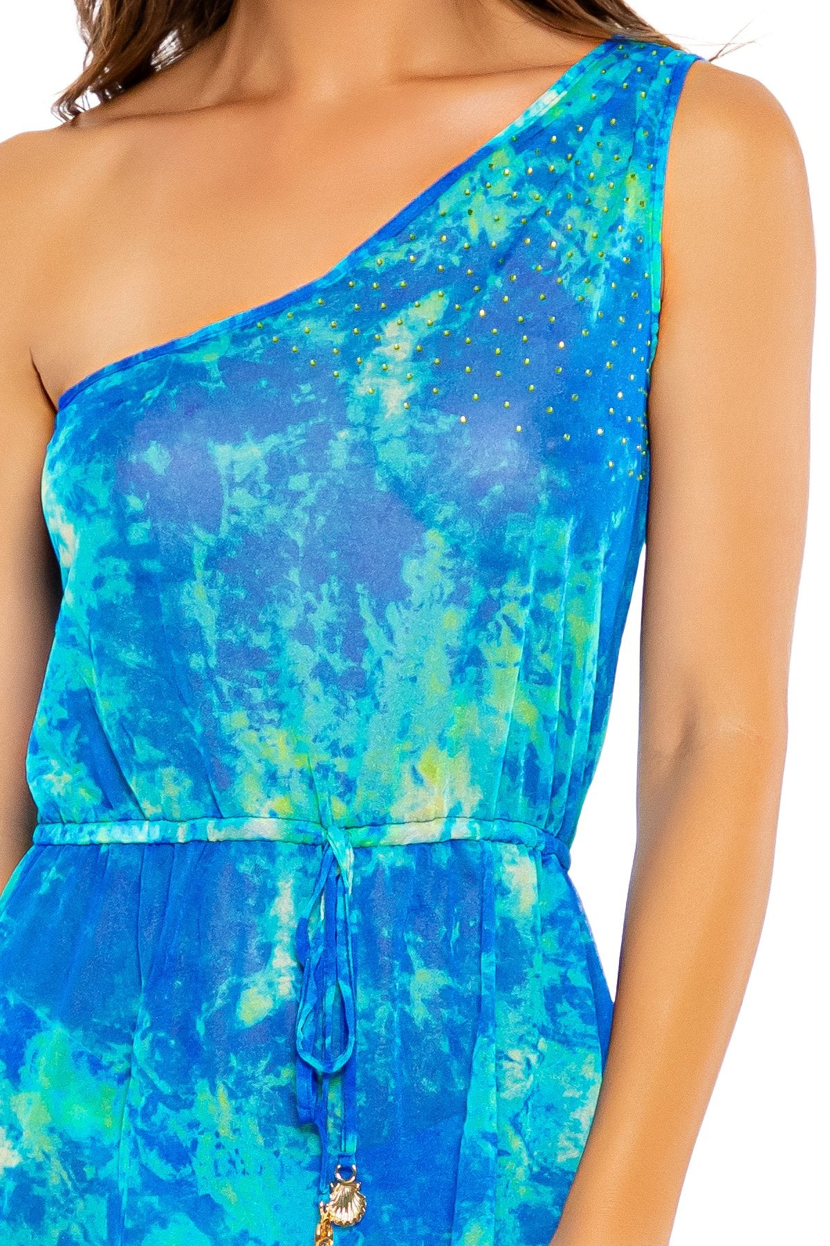 ANTOJITOS DEL MAR - One Shoulder Crystallized Short Dress • Multicolor