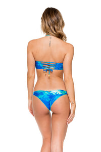 ANTOJITOS DEL MAR - Cut Out Underwire Top & Strappy Brazilian Ruched Back Bottom • Multicolor