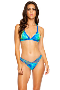 ANTOJITOS DEL MAR - Cristalized Adjustable Back Halter Top & Strappy Ruched Back Bottom • Multicolor