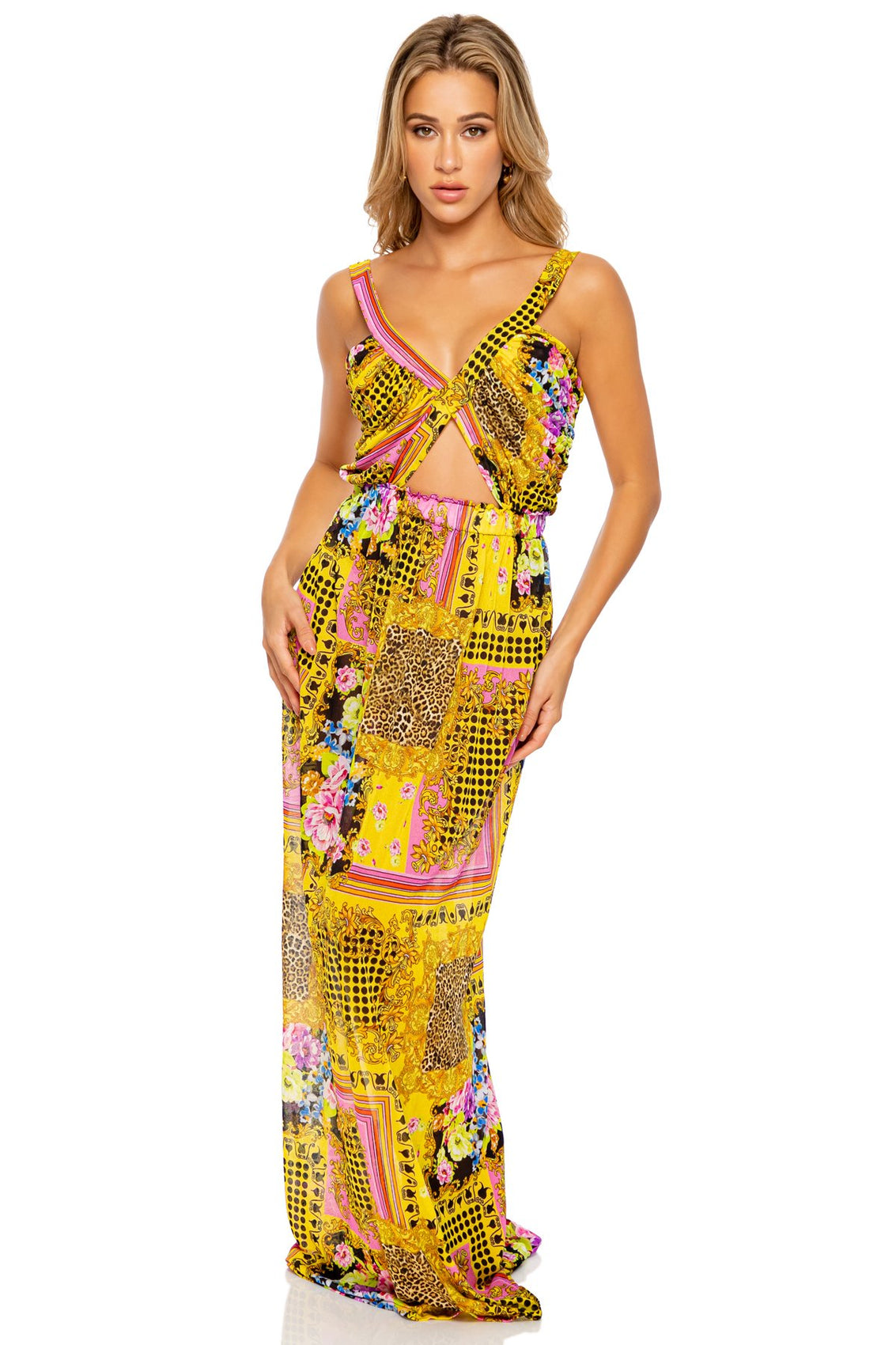 BACK  IN TIME - Timeless Cut Out Long Dress • Multicolor