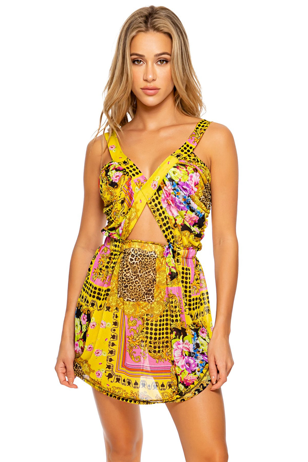 BACK  IN TIME - Timeless Cut Out Short Dress • Multicolor