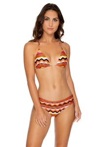 MAGICO DELIRIO - Molded Cup Push Up Tri Halter Top & Contempo Soft Band Full Bottom • Multicolor