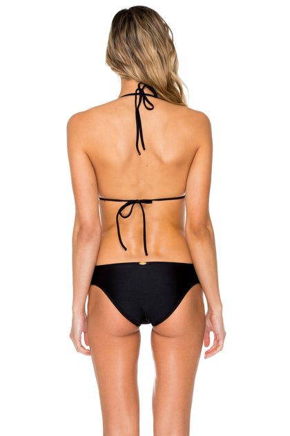 SWEET SEDUCTION - Molded Cup Push Up Tri Halter Top & Full Scrunch Side Lace Bottom • Black Gold