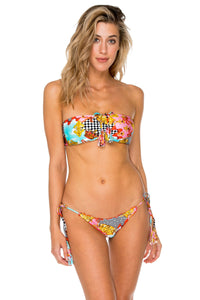 PARTY PRINCESS - Bandeau Top & Wavey Ruched Back Brazilian Tie Side Bottom • Multicolor