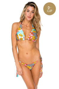 PARTY PRINCESS - Triangle Halter Top & Wavey Ruched Back Brazilian Tie Side Bottom • Multicolor